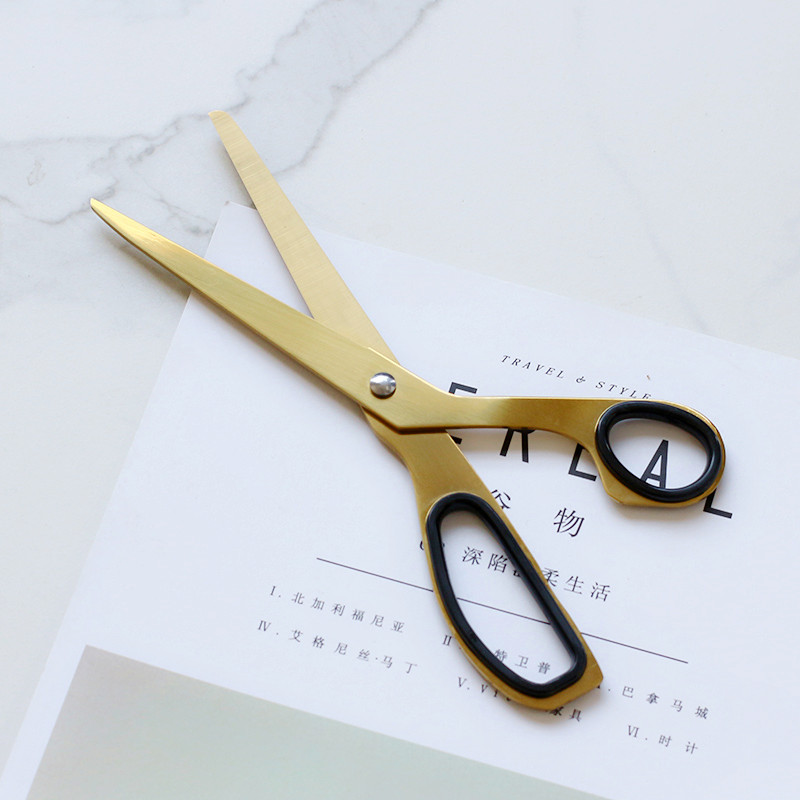 JIANWU Simplified Modernity Golden Scissors Home Furnishing Soft Decoration Decoration Props Office Supplies