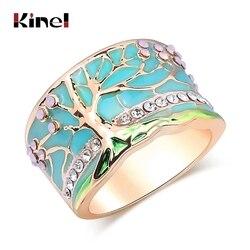 Kinel popularne na szczęście drzewo kwiatowe pierścionki moda złoty różowy Opal zielona emaliowana szeroki pierścień dla kobiety Party kryształ biżuteria w stylu Vintage 2019 nowy