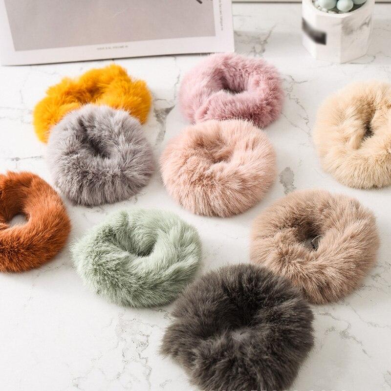 Мягкая Плюшевая повязка для волос резинки для волос натуральный мех кроличья шерсть мягкие эластичные резинки для волос для девочек однотонный цветной хвост резинки для волос для женщин