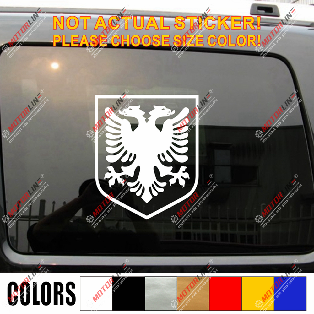 Albania Eagle Shield Decal Sticker Albanian Car Vinyl Die Cut No Bkgrd Pick Size