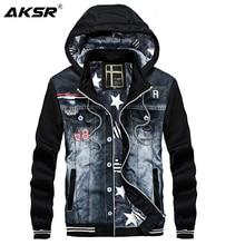 AKSR Mens Fleece Denim Hooded Sweatshirt Hoodies Men Sprotswear Jeans Streetwear Zipper Sweatshirts 2019