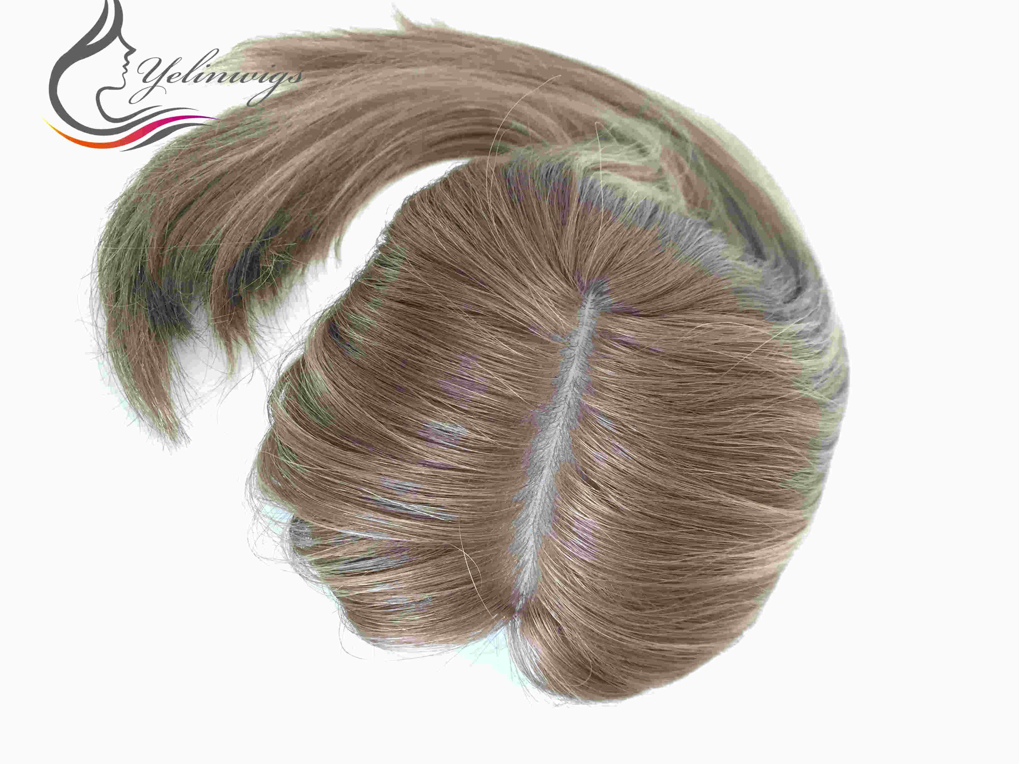 Fine European Hair Jewish Topper Hair Pieces High Quality European Hair Kippah Fall Kosher Hair Pieces