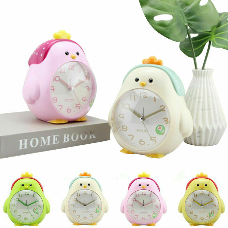 Cartoon Chicken Shape Mute Alarm Clock With Night Light For Student Kids Bedroom