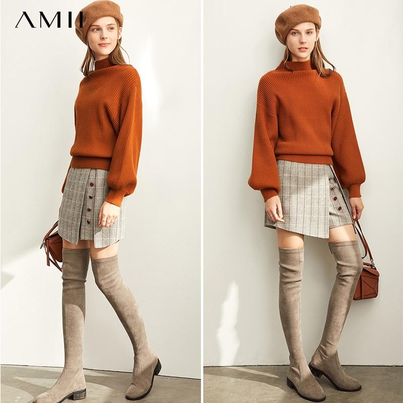 Amii Minimalist Knitted Sweater Autumn Women Casual Puff Sleeve Loose Female Turtleneck Sweater 11930341