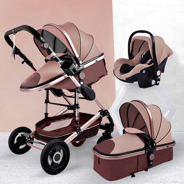 Luxurious Baby Stroller 3 in 1 Portable Travel Baby Carriage Fold Pram High Landscape Aluminum Frame Newborn Infant Stroller 6
