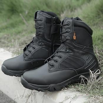 أحذية رجالي التكتيكية العسكرية القوة الخاصة الجلود للماء الصحراء القتالية الكاحل التمهيد أحذية العمل الجيش زائد الحجم 39-47 2