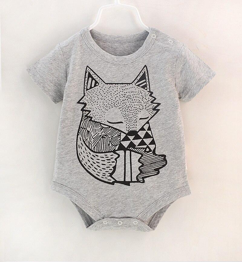 Newborn Baby Boys Bodysuit Cute Animal Fox Jumpsuit Outfit Summer Short Sleeve Babies Clothes Vetement Enfant Fille
