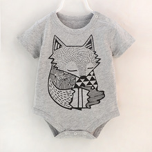 Newborn Baby Boys Bodysuit Cute Animal Fox Jumpsuit Outfit S