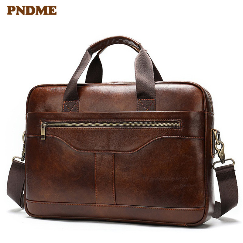 PNDME Genuine Leather Men's Business Briefcase Natural Cowhide Large Laptop Handbag Fashion Vintage Work Shoulder Messenger Bags