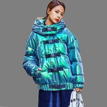 Women Winter Hooded Wadded Cotton Coat Laser Bright Surface Parka Female Thick Warm Casual Plus Size Long Sleeve Jacket Female(China)