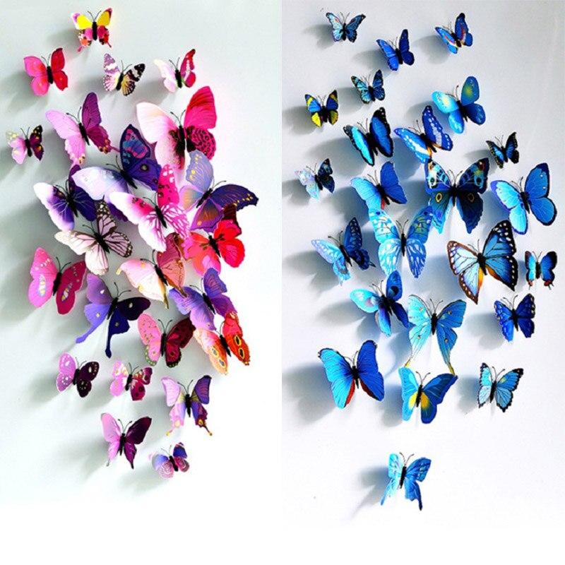 Pegatinas de mariposa 3D de PVC para pared, decoración para habitación de niños, calcomanías creativas de arte de pared de animales, 12 Uds.