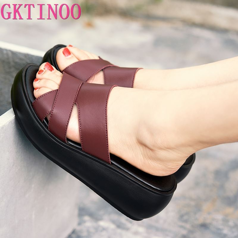 GKTINOO Women Slipper's 2020 Ladies Summer Slippers Genuine Leather Shoes Women Wedges Heels Fashion Summer Shoes
