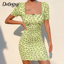 Darlingaga Strawberry Butterfly Printed Bow Summer Dress Sweet Square Neck Sundress Casual Dress Pink Short Sleeve Mini Dresses