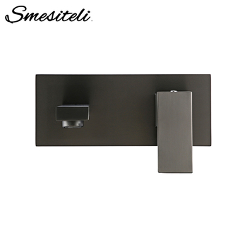 Smesiteli Bath Brass Basin Faucet Wall Mounted Mixer Tap Hot And Cold Sink Bathroom Kitchen Brushed Grey Wall Mounted wall mounted kitchen faucet rotate vegetable basin faucet hot cold water mixer mop pool tap sink faucet torneira double holes