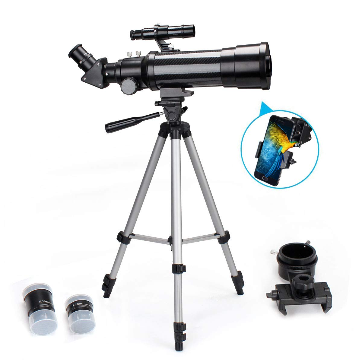 70mm Telescope for Beginners and Kids, Refracter Travel Scope for Viewing Moon Stargazing and Outdoor FMC Lens, image