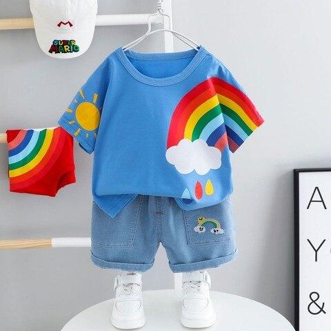 roupas de bebe para meninas meninos roupas de verao curto mangas compridas terno 2 criancas