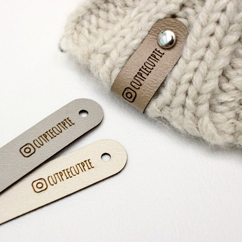 30pcs Leather tags for handmade items Custom knitting crochet labels with rivet Sew on brand logo clothing label DIY Accessories