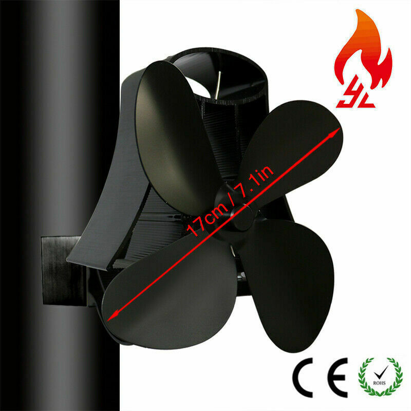 4 Blades Magnetic Flue Pipe Stove Fan Heat Powered Silent For Pipe Fan Black Top