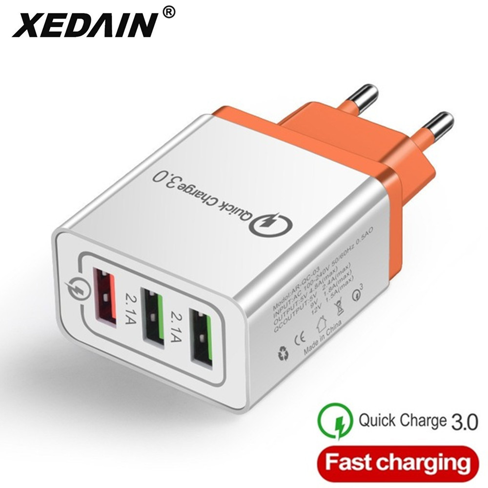 3 Ports USB Fast Charger Cable/Phone Quick Charger 3.0 5V/3A EU/US/Plug Wall Charger For Samsung Apple Iphone Sony Xiaomi Huawei
