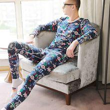 New fashion thermal underwear men's round neck cotton thin section slim long und
