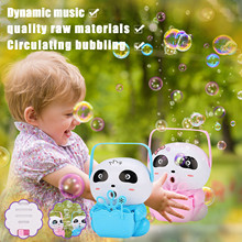 Portable Panda Bubble Machine Outdoor Automatic Colorful Bubble Blower With Music Function For Boys Girls Bathing Fun Parties