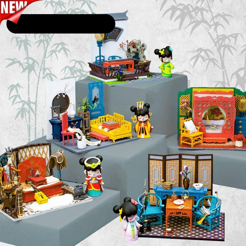 Estilo antigo chinês de madeira diy casa de campo jardim, madeira montada casa de boneca cena modelo casa de campo brinquedo presente feminino criativo