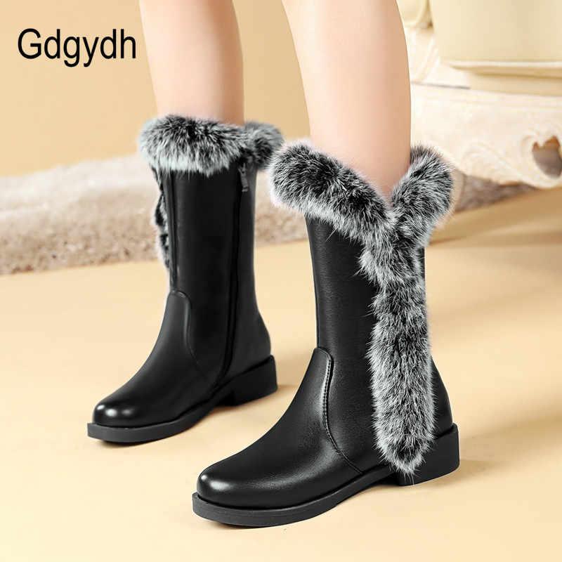 Gdgydh bayan kar botları 2019 yeni varış sıcak gerçek kürk peluş astarı kadın ayakkabı kış için düşük topuk rahat büyük boyutu 48