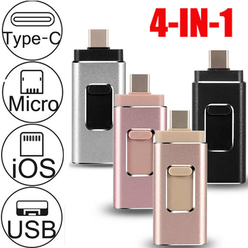 4IN1 Metalen Otg Usb Flash Drive 32Gb 128Gb 256Gb Pendrive Externe Opslag Voor Iphone X 8 7 plus 6 6S Plus 5 4s Ipad Macbook Type C