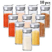 10 шт прозрачные стеклянные кухонные гаджеты шейкер для специй и перца банка для специй Вращающаяся крышка приправа банка бутылка для соли и сахара