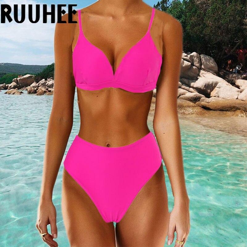 RUUHEE Neon High Waisted Bikini 2020 Women Swimsuit Push Up Swimwear Brazilian Biquini Swimming Suit Summer Bathing Suit Femme