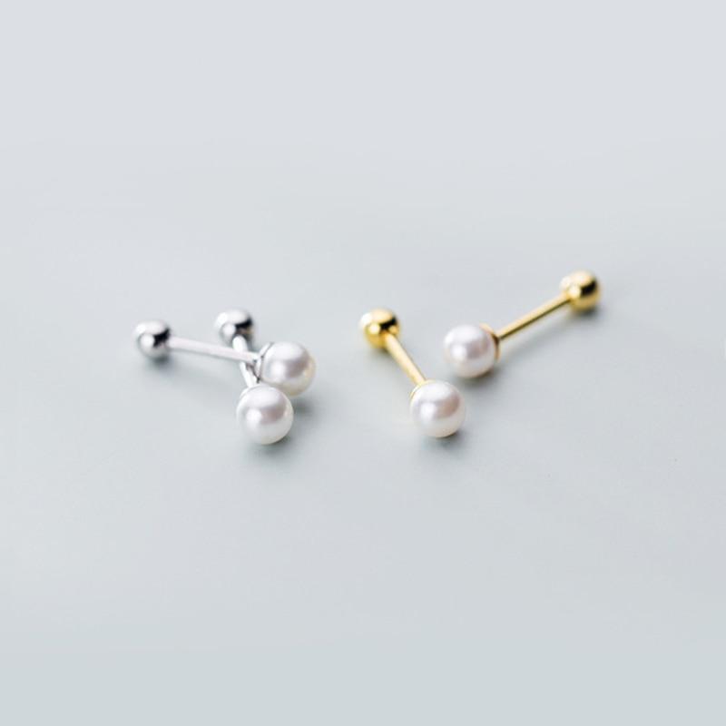 925 Sterling Silver Classic Artificial Pearl Screw Stud Earrings For Women Girls Kids Mini Cute Jewelry Gifts G2827