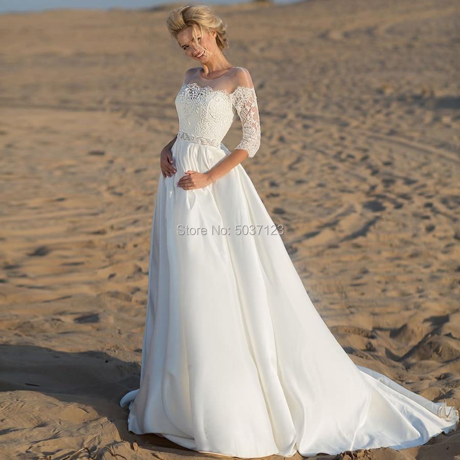Satin robes De mariée O cou demi manches dentelle Appliques balayage Train une ligne robe De mariée Vestidos De Noiva bouton Illusion