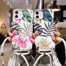 Funda de teléfono con correa de concha de mármol... funda suave con cordón de cadena para Samsung Galaxy S8 S9 S10 S20 Plus Ultra