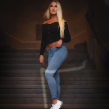 Melody REGULAR-RISE SKINNY-FIT TROUSERS IN DARK DENIM Jeans Woman(China)