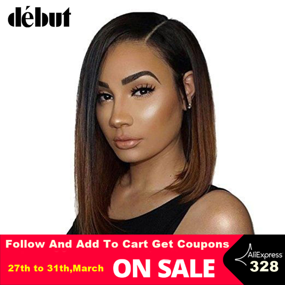 Debut L Part Lace Front Human Hair Wigs For Women Brazilian Remy Straight Short Hair Wigs Bob Lace Front Wigs Free Shipping