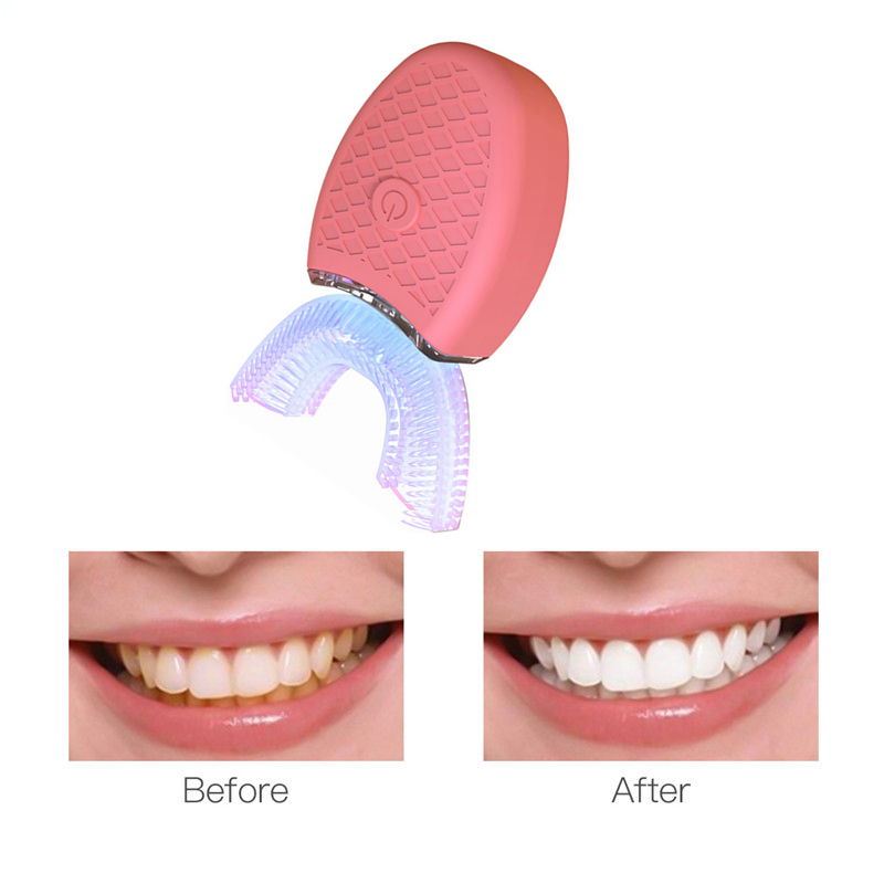 New 2PCS 360 Degrees ligent Automatic Sonic Electric Toothbrush USB Rechargeable Ultrasonic U Shape 4 Modes Timer