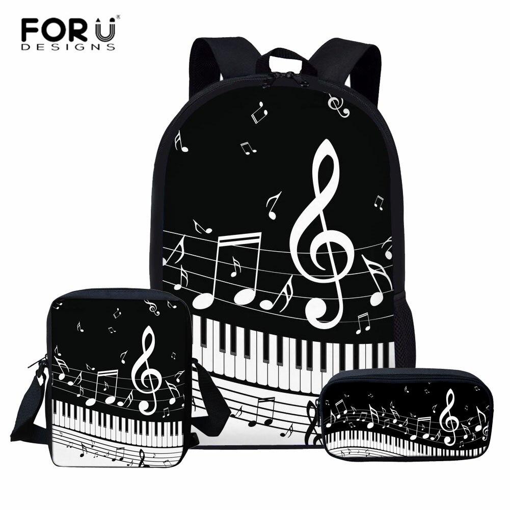 FORUDESIGNS Piano Children School Bags For Kids Bagpack Teenager Girls Book Bags Music Note Girls Primary School Bag Set Custom