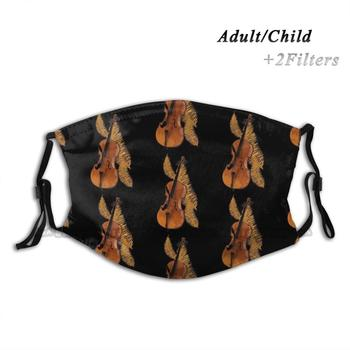 Cello Gold Leaf Custom Design For Adult Kids Anti Dust Filter Diy Print Washable Face Mask Cello 30 Music 26 Violin 22 Musician