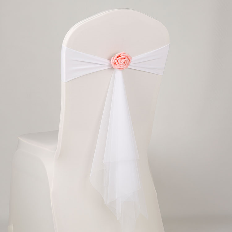 14Colours Spandex Sash With Rose Ball Artifical Flower And Organza Chair Sash Wedding Lycra Bow Tie Band Wholesale