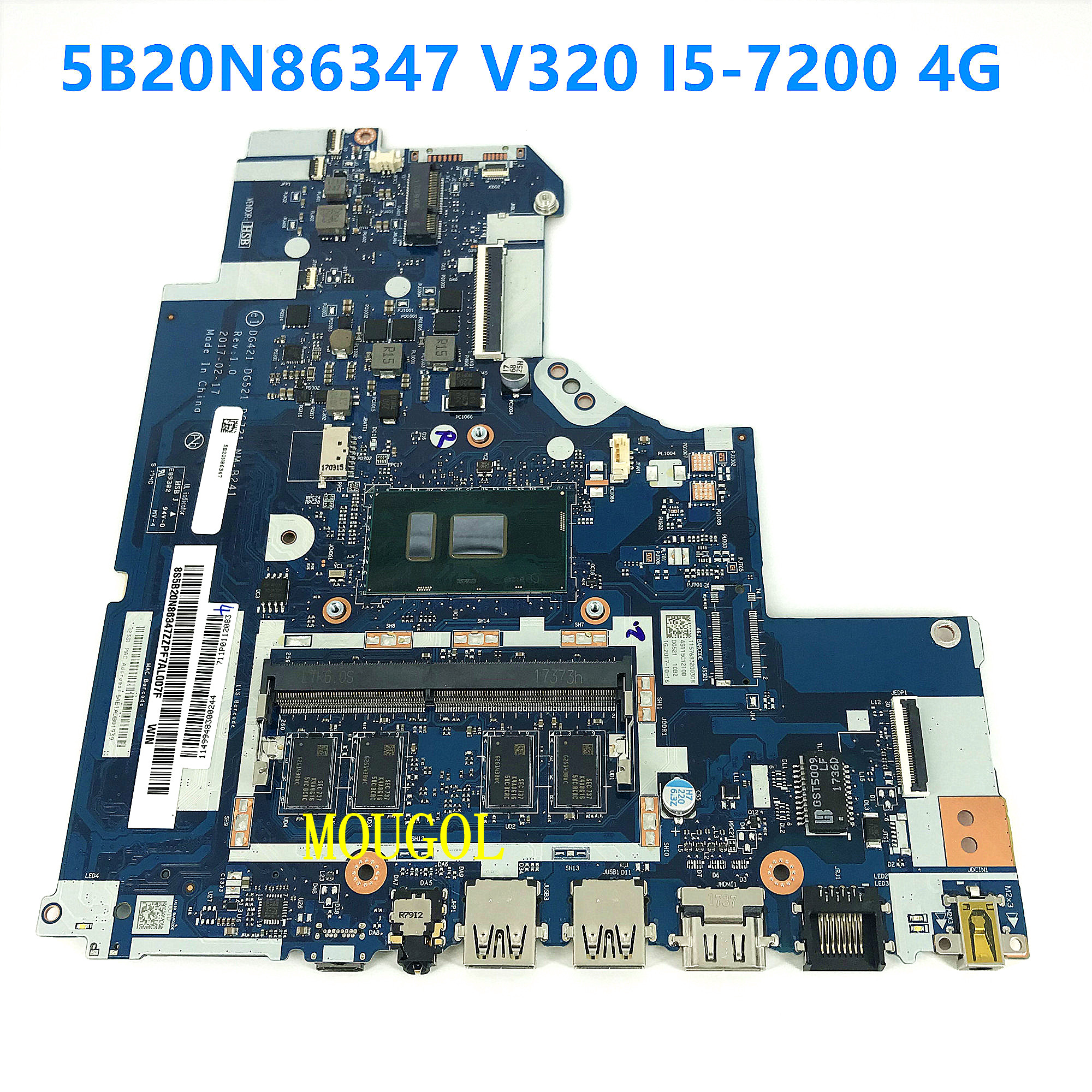 NEW for <font><b>Lenovo</b></font> <font><b>IdeaPad</b></font> <font><b>320</b></font>-15IKB <font><b>320</b></font>-17IKB Laptop <font><b>Motherboard</b></font> 5B20N86620 DG721 NM-B241 i5-7200U CPU 4G RAM Tested work image