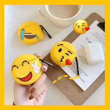 3D Cute Funny Expression Emoji Smiley Face Cartoon Silicone Bluetooth Headphone Earphone Case Cover For Apple Airpods 1 2