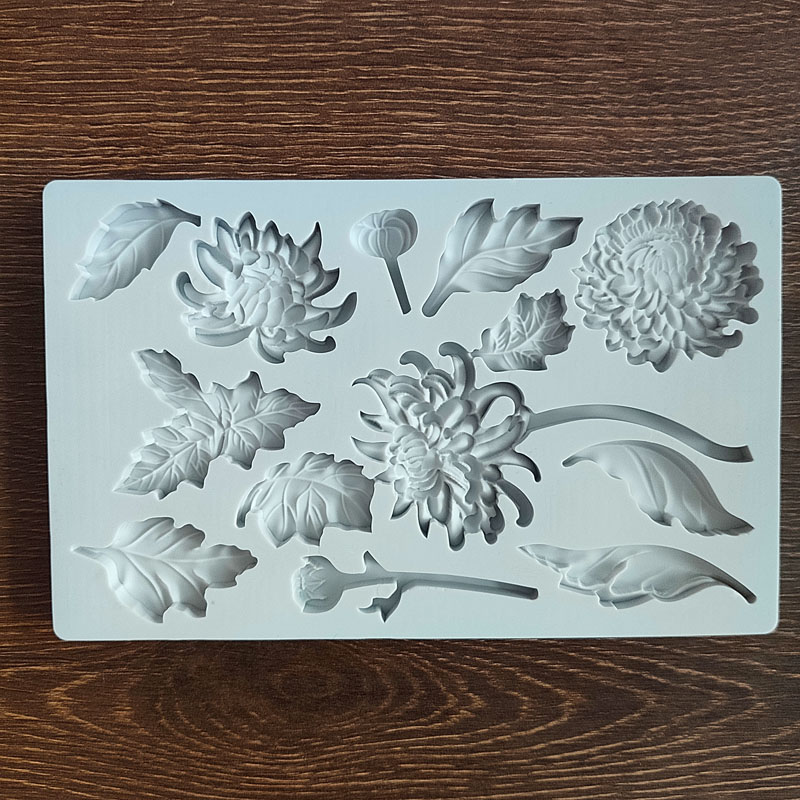 Chrysanthemum fondant flower leaf silicone mold DIY flower bud cake decoration mold Household clay baking tools