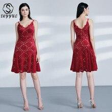 Skyyue Bridesmaid Dress Burgundy Lace Short Women Party for Girls Plus Size Double V-neck Robe Demoiselle D Honneur 2019 C517