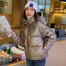 Women winter warm down cotton short Parkas silver shiny jacket fashion high quality hooded ladies