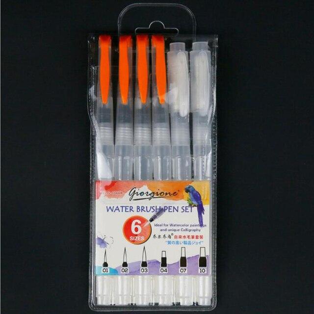 3/6 PCS Set Water Paint Soft Brush Pen Watercolor Brush Pen refillable Nylon Brush Tip Pen For Painting Drawing Art Supplies 4