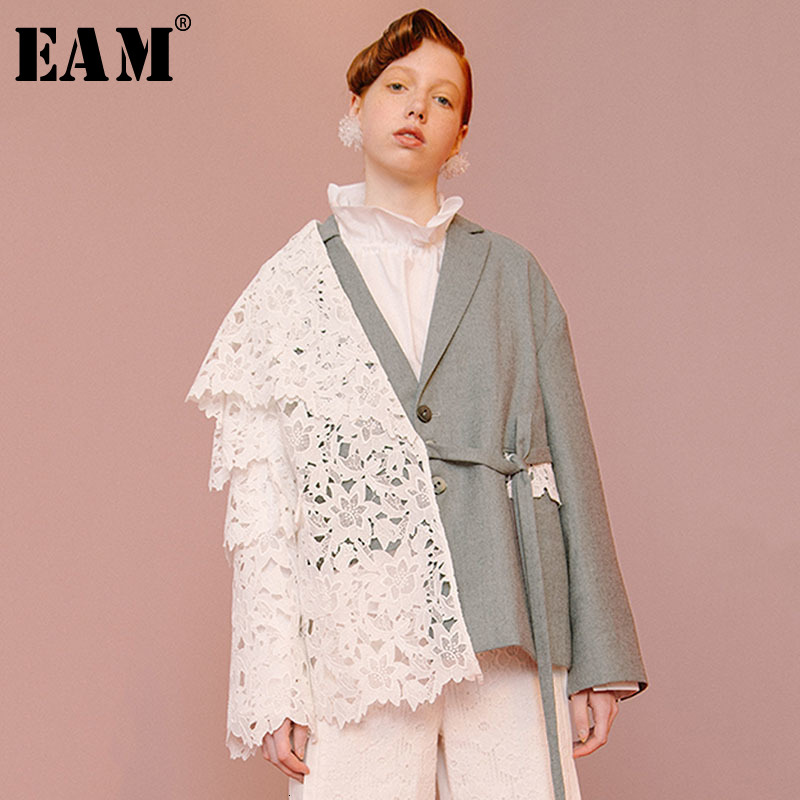 [EAM] Loose Fit Contrast Color Lace Big Size Jacket New Lapel Long Sleeve Women Coat Fashion Tide Spring Autumn 2020 1D319 1