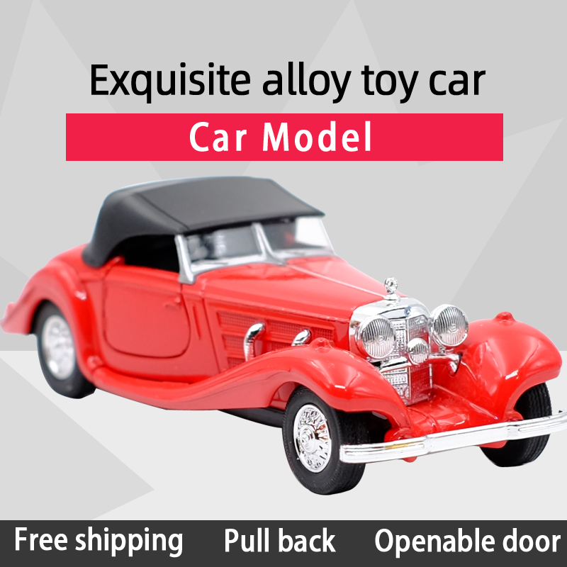 WELLY 1:36 1963 500K Retro Vehicle Sports Car Alloy Diecast Car Model Toy With Pull Back For Children Gifts Toy Collection