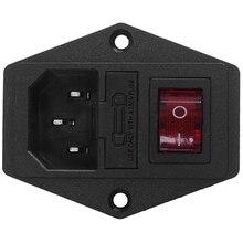лучшая цена 3 Pin IEC320 C14 Inlet Module Plug Fuse Switch Male Power Socket 10A 250V