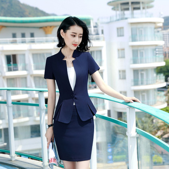 Elegant Suit Skirt Summer Formal Short Sleeve Office Ladies Work Wear Women Business Blazer Suits Skirt and Jacket Two Piece Set formal work wear uniform styles professional spring summer business suit vest skirt ol blazers women skirt suits outfits sets