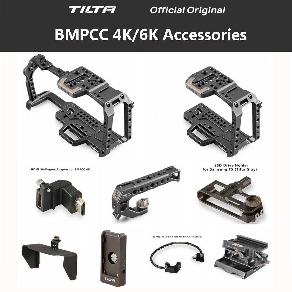 Tilta TA-T01-A-G Cage de caméra complète tous les accessoires ensemble pour BMPCC 4K caméra poignée supérieure poignée latérale en bois F970 plaque de batterie